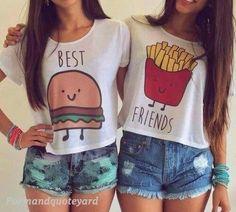 🍟Best Friends Crop Tops Lot of 2 size L🍔 Lot of 2 crop top BFF shirts. Best Friends T Shirt, Best Friend Outfits, Best Friend Goals, Best Friends Forever, Best Friend Stuff, Friends Shirts, Best Friend Clothes, Best Friend Matching Shirts, Bff Goals