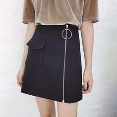 FYYIYI slim high waist skirt fashion zipper skirts short skirt round casual skirts womens elastic summer white 2017 solid pocket