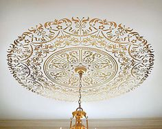 Stencil ceiling medallion! {my personal review} - Debbiedoo's
