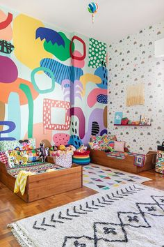 The COLORS in this space are absolutely phenonmenal! Kids Room Murals, Wall Murals, Murals For Kids, Mural Art, Girl Room, Girls Bedroom, Deco Originale, Wall Decor, Room Decor