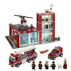 It's a peaceful day in the LEGO City Fire Station The fire chief sips his coffee in his office while a firefighter repairs the truck and another . Lego Toys, Lego Duplo, Lego City Fire Station, Station Fire, Police Station, Lego Fire, Lego City Sets, Into The Fire, Buy Lego
