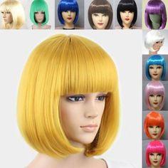 Fashion Women's Sexy Full Bangs Wigs Short Wig Straight Bob Hair Cosplay Party | eBay