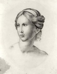 1831, Charlotte completed this sketch of the head and shoulders of a young woman, possibly as part of an art exercise at Roe Head School.