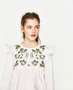 Image 4 of SHIRT WITH EMBROIDERED FLOWER from Zara