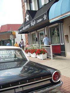 Barney's squad car sits in front of Mayberry Café. #MayberryCafe #Danville #Indiana #Foodie #AndyGriffith