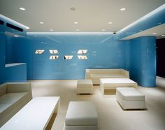 Shoji Screen, Shades Of Blue, White Leather, Hue, Shelving, Flooring, Boutique, Wood, Interiors