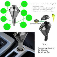 Efanr® Multifunction 3in1 Dual Ports USB Car Charger & Air Freshener Purifier Ionizer & Safety Hammer Window Breaker Emergency Escape Tool - Intelligent Output Battery Power Supply Mobile Phone Charging Station for Apple Android Cell Phones Smartphones Tablet Devices - iPhone 6 Plus/6/5S, iPad Air 2/1, iPad 4/3/2, iPad Mini 3/2/1, Samsung Galaxy S6/S5/S4/S3, Galaxy Note 4/3/2/Edge, LG G3, Nokia Lumia, Lenovo, Sony Xperia, Huawei, Google Nexus, BlackBerry (Blue):Amazon:Cell Phones…