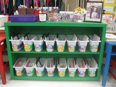 Book bins made with ice boxes from Walmart....