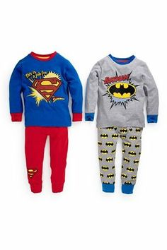 Buy Batman®/Superman® Snuggle Pyjamas Two Pack from the Next UK online shop Little Boy Outfits, Little Boys, Boys Pajamas, Baby Pyjamas, Rainbow Loom Creations, Blue Costumes, Cute Easy Drawings, Batman And Superman, Reborn Baby Dolls