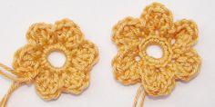 Einfache Häkelblumen - Variation zusätzliches doppeltes Stäbchen