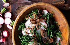 Crispy shallots are an addictive garnish on this collard green and radish slaw.