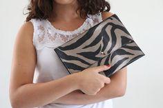 Women clutchzebra print colors purse black by KishaDesigns on Etsy, $46.00