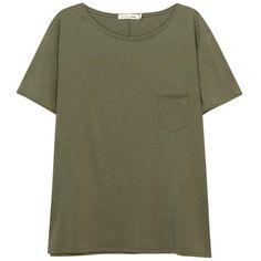 Womens T-Shirts Rag & Bone /JEAN X-Boyfriend Army Green Cotton T-shirt found on Polyvore featuring tops, t-shirts, side slit tee, green tee, green top, boyfriend tank top and green t shirt
