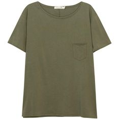 Womens T-Shirts Rag & Bone /JEAN X-Boyfriend Army Green Cotton T-shirt found on Polyvore featuring tops, t-shirts, side slit tee, green tee, green top, boyfriend tank top and green t shirt