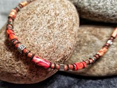 Ethnic Wooden Beads and Tibetan Silver Beads / Tribal Necklace / Red, Tan, Brown and Silver