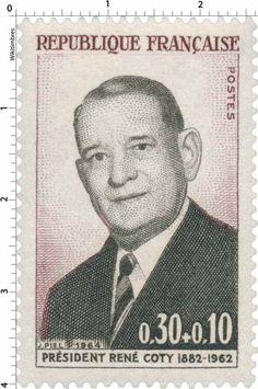 Timbre 1964 PRÉSIDENT RENÉ COTY 1882-1962 | WikiTimbres...reépinglé par Maurie Daboux ✄❤