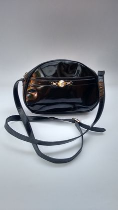 57c823268eb FERRAGAMO Salvatore Ferragamo Vintage Black Patent Leather Shoulder   Crossbody  Bag. Italian designer purse.