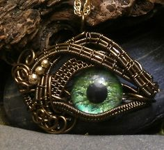 Gothic Steampunk Itty Bitty Evil Eye in Bronze Creepyness With Handpainted Green Glass Eye
