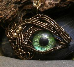 Gothic Steampunk Itty Bitty Evil Eye in Bronze Creepyness With Handpainted Green Glass Eye