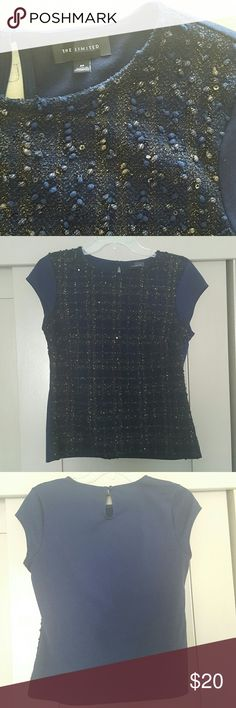 The Limited Blue Blouse with Gold Highlights This blouse would be perfect to wear to work or to a night out. It's a dark blue shirt with just the right amount of gold shimmer. Really cute top, great condition. The Limited Tops