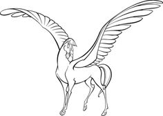 Disney, Hercules Pegasus. The knees and hocks are too high, the eyeballs are on the front of the head, but the style is so graceful, the horse so elegant, hilarious and horsey, that I love it anyway.