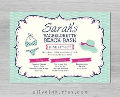 Bachelorette beach party invitation  personalized card by oliveINK, $15.00