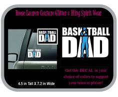 BASKETBALL DAD DECALS  - Personalize this Decal with your choice of two colors to support your team or player! by ReeseLaurenCouture on Etsy