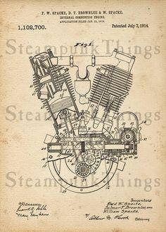 Steampunk Art Engine Patent Drawing Steam Punk 5x7 Print