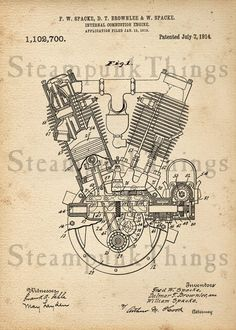 Steampunk Engine Patent Drawing 5x7 Photo Print by Steampunkthings, $10.00