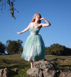 Vintage 50s Strapless Wedding Prom Dress Aqua Blue by DaintyRascal, $196.00