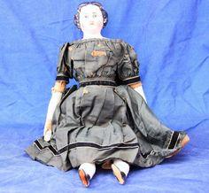 Antique German Porcelain Doll Toy Primitive Clothing Dress Undergarments Ceramic