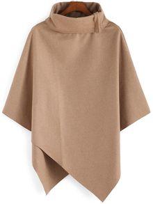 Turtleneck Woolen Asymmetrical Cape Khaki Coat