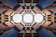 Architect Peter Behrens devised an entrance hall with kaleidoscopic dyed bricks for a Frankfurt, Germany, office building completed in 1924.