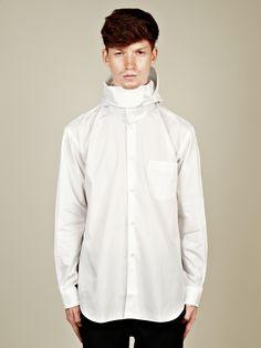 COMME des GARCONS SHIRT Men's Hooded Shirt in white at oki-ni