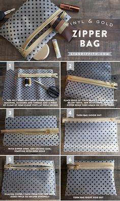 Loving the exposed zipper! - Make this vinyl and gold zipper bag, perfect for make-up or other goodies. Check out this tutorial for your own diy version of this makeup organizer.