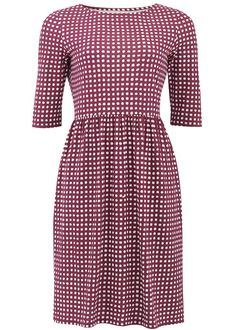 Bordeaux check jersey dress in certified 100% organic cotton. Elbow length jersey dress with gathered waist, falls just above the knee. Also available in black. Length 96cm.
