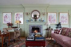 Edward Bulmer's painstakingly restored Queen Anne house is packed with witty details - Music Room Fireplace - Living Room Color Combination, English Country Decor, Herefordshire, Hippie Home Decor, Country Style Homes, Country Houses, Queen Anne, Room Colors, Living Room Decor