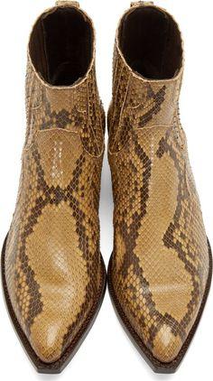 Saint Laurent Ecru Python Santiag Boots