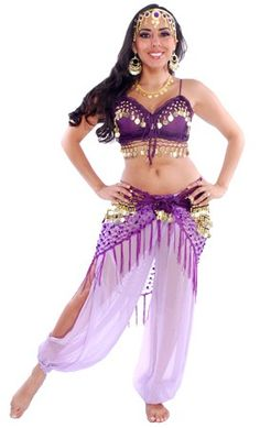 5-PIECE SEXY HAREM BELLY DANCER COSTUME (PURPLE) - Item #3722 on www.bellydance.com