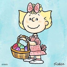 Sally Brown is ready for Easter Charlie Brown Und Snoopy, Meu Amigo Charlie Brown, Sally Brown, Charlie Brown Characters, Peanuts Characters, Peanuts Cartoon, Peanuts Snoopy, Peanuts Comics, Holiday Meme