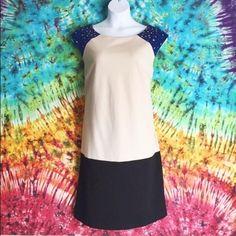 Color Block Dress with Studded Details Rockstar  Dress black, cream, and  blue.  Studded details on  sleeve. Lux II Dresses
