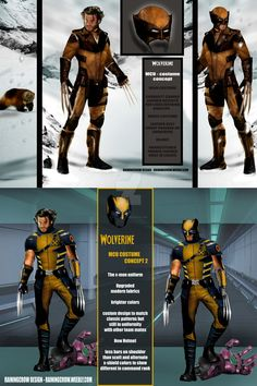 MCU Wolverine designs by rainingcrow on DeviantArt Wolverine Cosplay, Wolverine Art, Logan Wolverine, Wolverine Movie, Marvel Dc Comics, Marvel Heroes, Marvel Characters, X Men, Marvel Concept Art