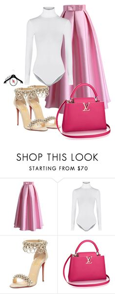 """""""Ladies"""" by spivey-adrian ❤ liked on Polyvore featuring Chicwish, Wolford and Christian Louboutin"""