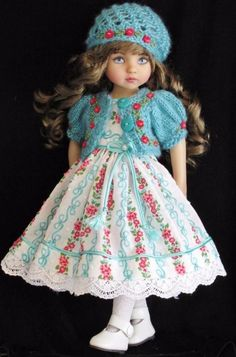 "Dress,sweater,hat&shoes set made for effner little darling &same size13"" doll"