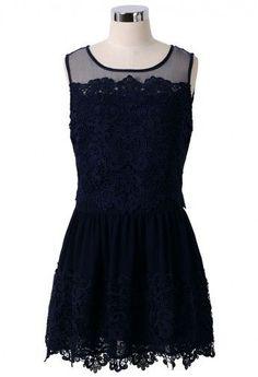 Crochet Mesh Chiffon Navy Blue Dress