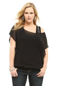 Black Rhinestone Studded Chiffon Top