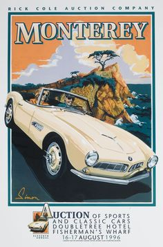 Monterey Auction Vintage style poster, BMW 507, by © Dennis Simon. This poster is available at centuryofspeed.com #bmw #cars #tyres