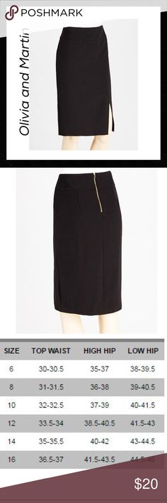 """Black Crepe Pencil Skirt Pencil skirt by Olivia and Martin in a beautiful crepe features back zipper detail and a side slit. Tailored to show off your figure, it fiercely cuts an edge at the office and effortlessly takes you into the evening. Hits just below knee on a model who is 5'6"""". 95% polyester 5% spandex. New with tags by Olivia and Martin. Olivia and Martin Skirts Pencil"""