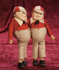 *TWEEDLE DEE & DUM ~ Pair, English from Alice in Wonderland, by: Old Cottage dolls, Dolls, representing the characters from Alice in Wonderland stories, c.1950's.