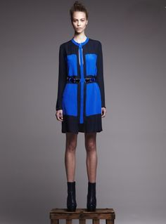 erin barr silk colorblock dress